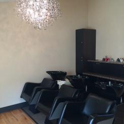 salon m shampoo station area