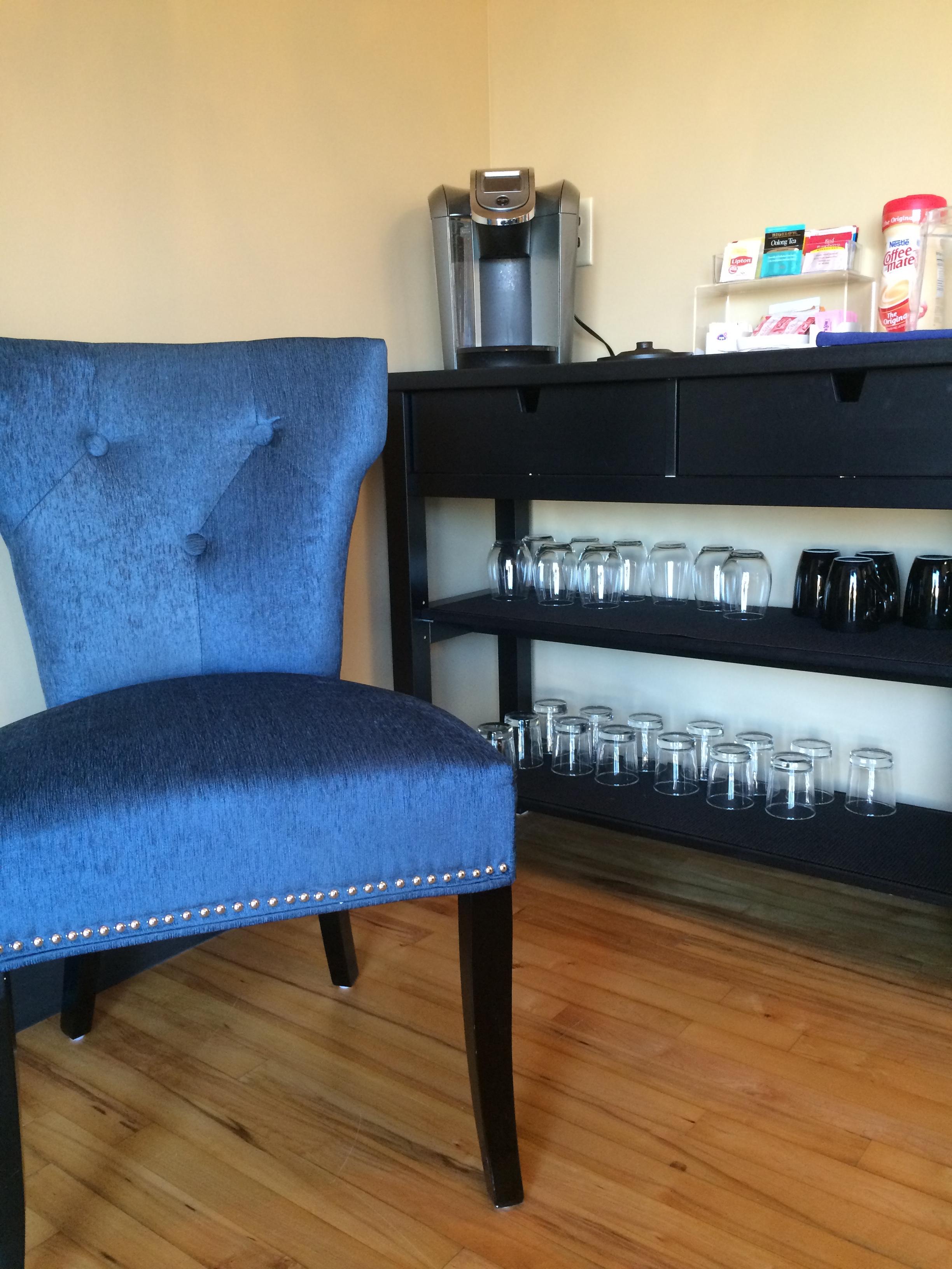 salon waiting area beverage station