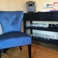 salon waiting area beverage station